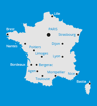 Carte de l'implantation des formations en France